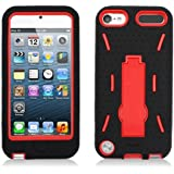 For Apple iPod Touch 5 Armor 3 in 1 w/Stand Black Skin+Red Rubber