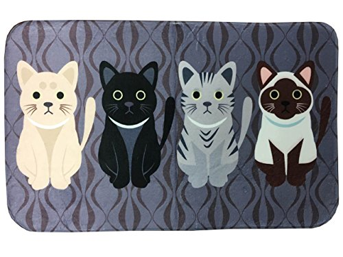 Prettybuy Cute Cats Kitty Design Flannel Rectangle Rug Flexible/Soft/Smooth Carpet/Mat/Rug Suitable For Stairway/Toilet/Study/Floor/Bedroom/Living Room/Bathroom/Kitchen/Home Decoration/Area