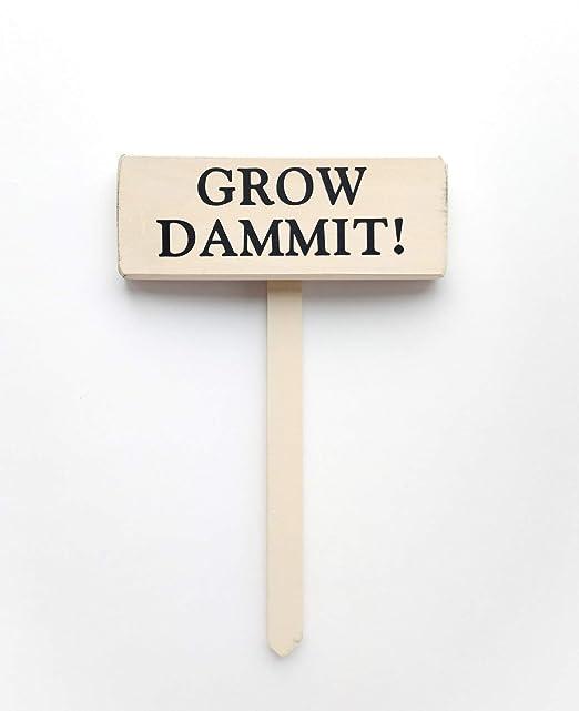 CELYCASY - Cartel de Madera con Texto en inglés Grow Dammit ...