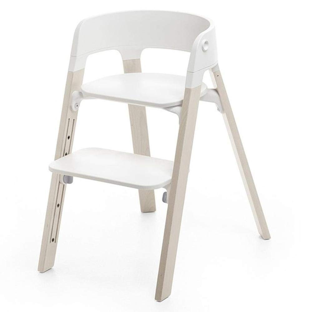 Stokke Steps Chair Complete, Whitewash Legs and White Seat