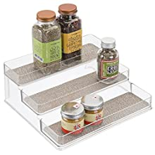"""iDesign Twillo Plastic Stadium Spice Rack, 3-Tier Organizer for Kitchen Pantry, Cabinet, Countertops, Vanity, Office, Craft Room, 9.2"""" x 10"""" x 4"""", Metallico and Clear"""
