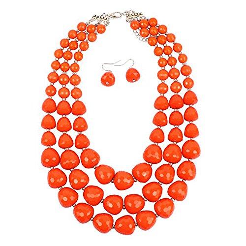 Zthread Multi-Layer Beads Bib Statement Stand Collar Necklace for Women Fashion Accessores (Orange Red)