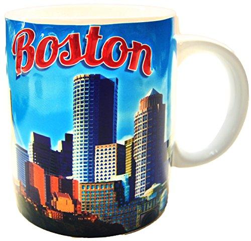 City of Boston Clear Blue Sky, Skyline Souvenir 11 ounce Coffee Mug