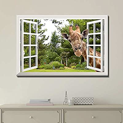 Open Window With Curious Giraffe - Canvas Art