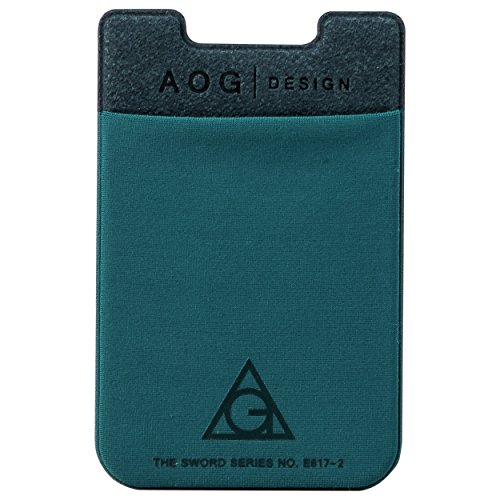 Price comparison product image AOG DESIGN Ultra Slim Stick On Adhesive Credit Card Wallet,  Card Holder for Smartphones (Sea Green)