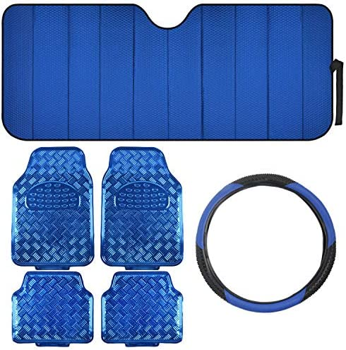 Car Accessory Gift Set, Includes Motor Trend Auto Sunshade, Bright PVC Floor Mats & Steering Wheel Cover, Holiday Combo Pack for Autos Truck Van SUV