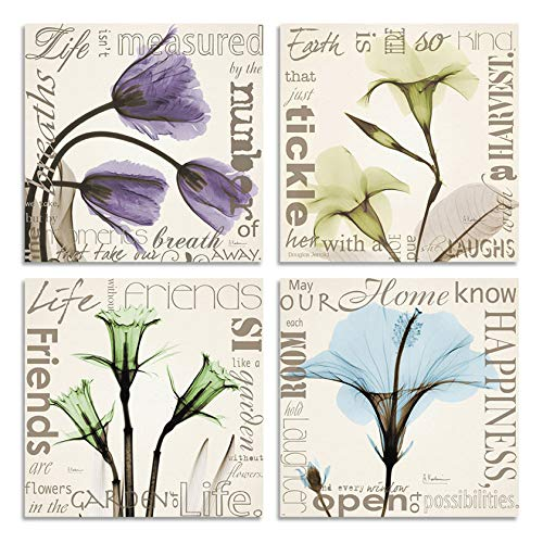 (HLJ Purple Tulip Retro Theme Canvas Wall Art Prints Happiness Friends Tickle Ready to Hang for Reading Room Bedroom Living Room 12X12in)