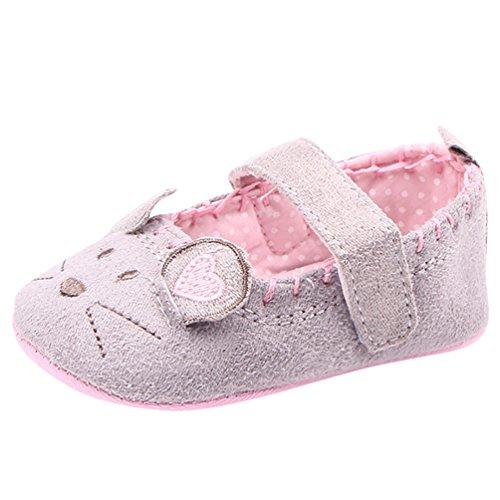 CHENGYANG Baby Mädchen Prinzessinschuhe mit Maus Muster - Schuhkleinkind Grau