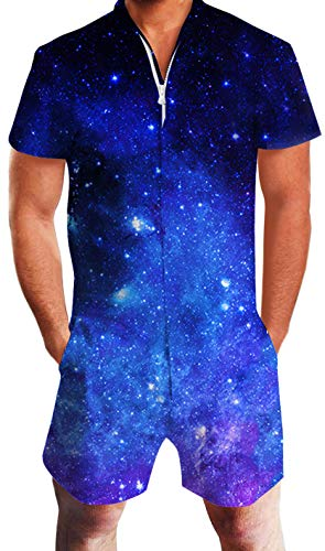 Goodstoworld Men's Jumpsuit Adult Rompers Rave Zip Romphims Blue Galaxy Starry Sky Male Boys Fashion Shirt Bro Pant Short T Shirt X-Large