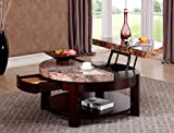 GTU Furniture Round Faux Marble Top Lift Top Cocktail Coffee Table