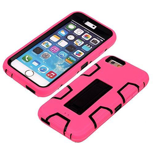 iPhone 6 6S Hülle , Heavy Duty Kickstand Rot Rot PU Harte Rüstung Tasche Schutzhülle Shockproof Handyhülle Stoßdämpfende Schale Fall Case Shell Halter für Apple iPhone 6 6S
