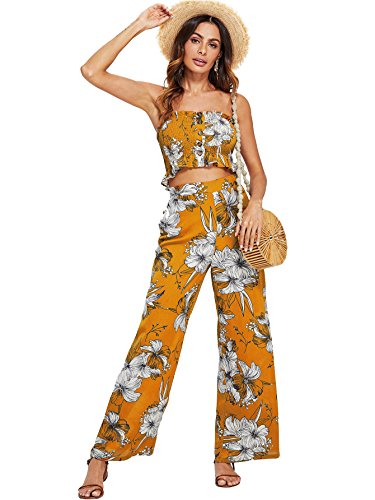 (Floerns Women's Strapless Tube Top and Pants Two Piece Set Yellow Floral L)