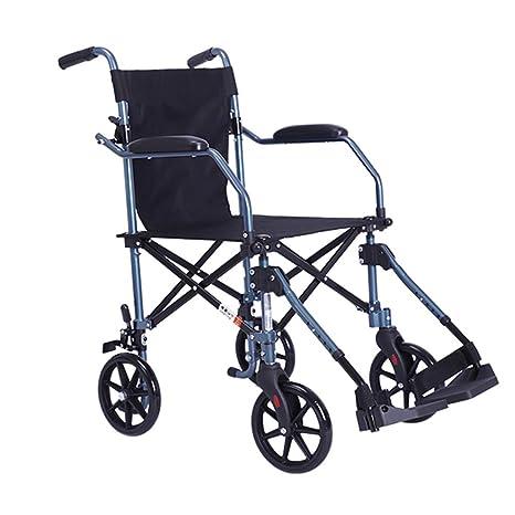 QIDI Silla De Ruedas Aleación De Aluminio Plegable con Pedal Ligero con Reposabrazos Frenado Manual