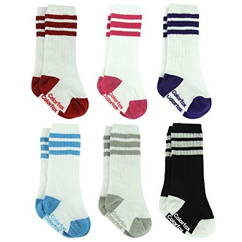 Baby Tube Socks, Colorfox Infant Striped Retro Knee High Cotton Socks for 6-12 Months 6 Pack