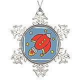 Vehfa Red Cartoon Rocket Spaceship with Stars Large Christmas Tree Snowflake Ornaments