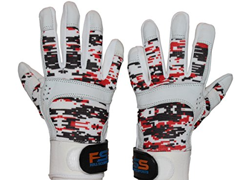 FullScope Sports Baseball Batting Gloves for Adult Boys Girls Youth Pro Softball Glove (Red/Black/White Digital Camo) Youth Small (Ages 6-8 yrs old) by FullScope Sports
