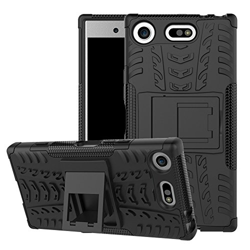 Sony Xperia XZ1 Compact Case, Linkertech [Shockproof] Tough Rugged Dual Layer Protector Hybrid Case Cover with Kickstand for Sony Xperia XZ1 Compact (Black)