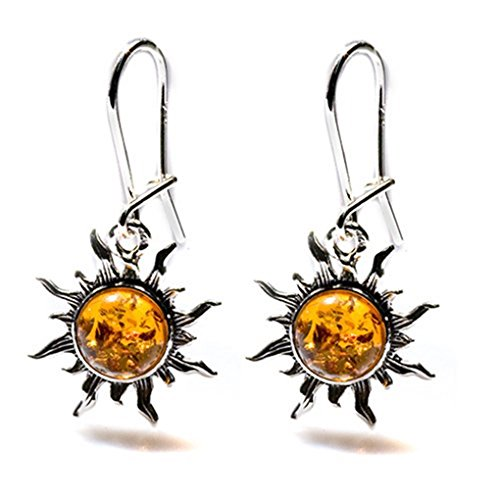 Brown Amber Sterling Silver Romantic Sun Small Earrings