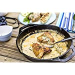 "Lodge Cast Iron Pan 5 10.25"" seasoned cast iron dual handle pan The right tool to sear, saute, bake, broil, braise, fry or grill At home in the oven, on the stove, on the grill or over the campfire; great for induction cooktops"