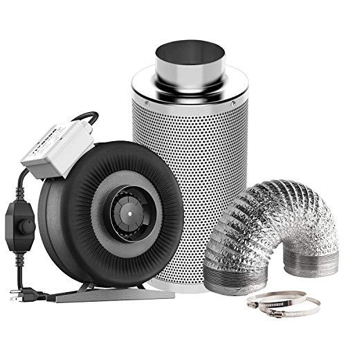 VIVOSUN Air Filtration Kit: 4 Inch 203 CFM Inline Fan with Speed Controller, 4'' Carbon Filter and 8 Feet of Ducting Combo ()