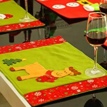 HATABO Home Autumation Restaurant Placemat Christmas Santa Placemats Insulation Pads Knife Fork Tableware Mats for Restaurant Hotel Home Dinner Party Decorations SD468 (Random)