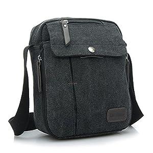 Ecokaki(TM) Canvas Small Messenger Bag Casual Shoulder Bag Travel ...