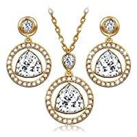 """LadyColour """"Eternal Light"""" Pendant Necklace and Earrings Jewelry Set, Made With Swarovski Crystals"""