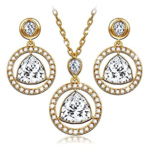 Mothers Day Gifts Gold Plated Jewelry Set Swarovski Crystlas Pendant Necklace and Drop Earrings Set Christmas Birthday Anniversary Gifts for women Mom Grandma Wife Girlfriend Daughter Sister Friend