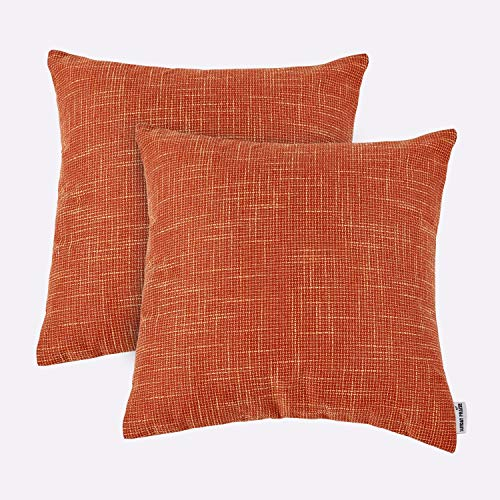 Set Sunday Palm (Sunday Praise Textural Cotton Linen Throw Cushion Pillow Covers Shams for Couch/Sofa/Bed,Vivid Solid Colors,Invisible Zipper,18x18 Inches,45x45CM(Set of 2,Orange))