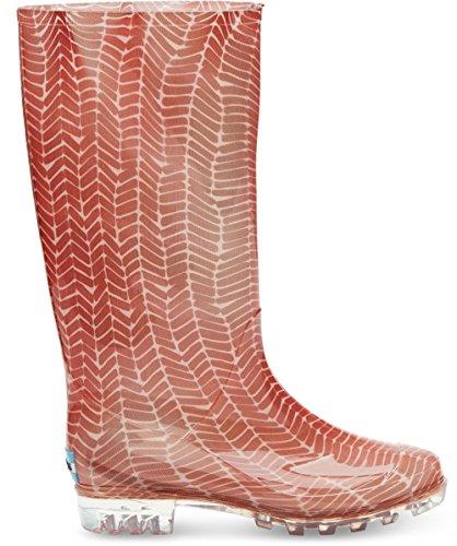 Toms Womens Cabrilla Rain Boot Stampa A Spina Di Pesce Rosso Pesca