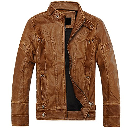 Mens Classic Leather Motorcycle Jacket - 9