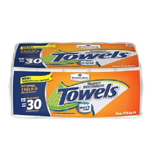 Europe Standard Member's Mark Super Premium, 2-Ply Paper Towels (15 Rolls, 142 Sheets per Roll) -