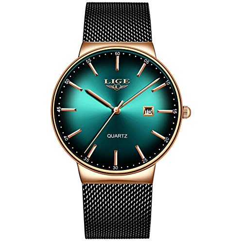 LIGE Mens Watches Stainless Steel Waterproof Fashion Simple Mesh Band Wrist Watch Gents Green Dial Date Casual Dress Analogue Quartz Watches