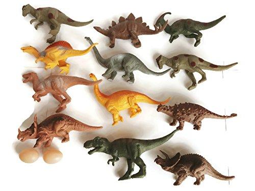 "SaveALL Dinosaur Toys Realistic Large Plastic Assorted Dinosaur Stuffed Animal Figures Fingerling Figurines Dinosaur Book 7"" Set of 12 Toddler 2 3 4 Year olds Girls Boys Kids"