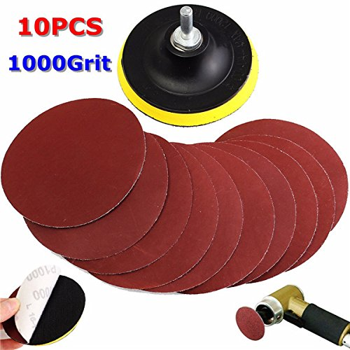 10pcs 4 Inch 1000 Grit Sandpaper with Backer and Drill Adapter - Square Backer Plates