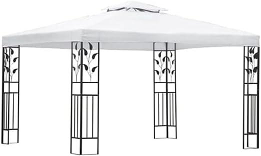 vidaXL Cenador de Jardín con Toldo Acero Negro y Tela Blanca Crema 3x4 m Carpa: Amazon.es: Hogar