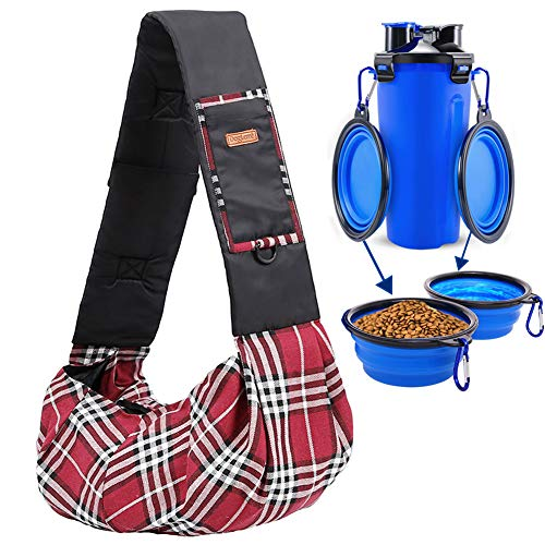 (Adnikia Classic Plaid Pet Carrier Sling Bag with 2-in-1 Dog Water Food Bottle with 2 Collapsible Dog Spouts for Cats Kittens Kitties Puppies and Small Breeds Dogs, Teddy up to 7.5kg/16.5 lbs)