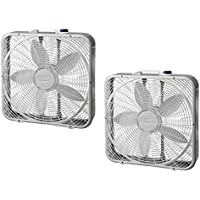 Lasko 20 Preimum Steel Box Fan w/3 Speed Settings and Easy Carry Handle, 2 Pack