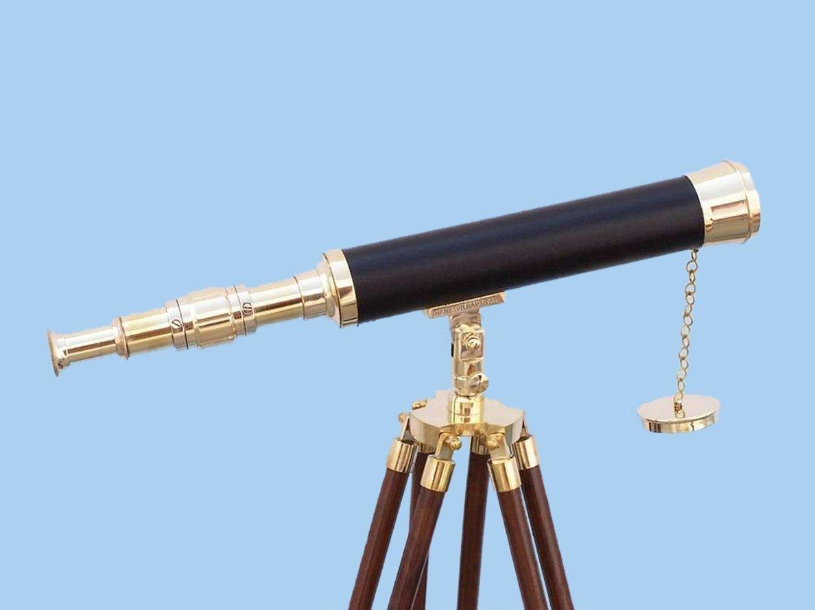 Hampton Nautical Floor Standing Brass/Leather Harbor Master Telescope, 42'', Brass