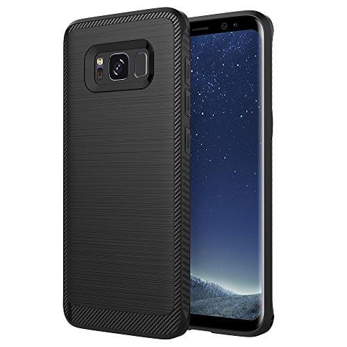 Galaxy S8 Plus Case, Samsung Galaxy S8 Plus Case, OTOLIN Brushed Metal Carbon Fiber TPU Impact Shock-Absorbent Case for Samsung Galaxy S8 Plus (2017) - Black