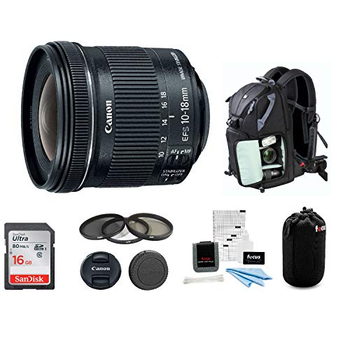 Canon EF-S 10-18mm f/4.5-5.6 is STM Wide Angle Lens with 16GB SD Card Advanced Bundle