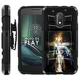 Motorola Moto G Play [4th Gen] Armor Case [Case86] [Black/Black] Dual Hybrid Armor Phone Case - [Spirit Girl] for Moto [G4 Play]