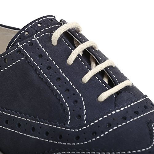 MARINA SEVAL by Scarpe&Scarpe - Zapatos acordonados con plataforma y punta en cola de golondrina, Zapatos Planos, de Piel Azul
