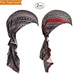 DancMolly Pre-Tied Scarf Chemo Turban Elastic Skullies Hat Summer Headwear for Cancer (Block-Black+Red)