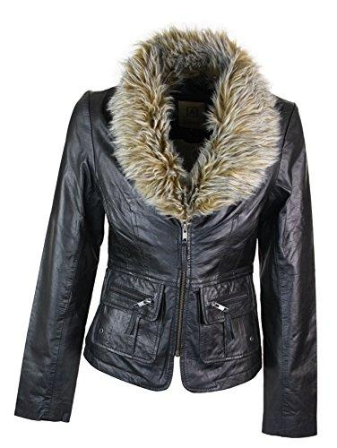 Aviatrix Veste femme cuir vritable style vintage court avec col en fausse fourrure Noir