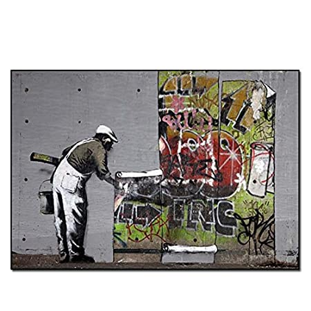 Wallpaper Hanging Graffiti Banksy Poster Print Picture Framed Art Black White Frame A4 A3 A2 Small