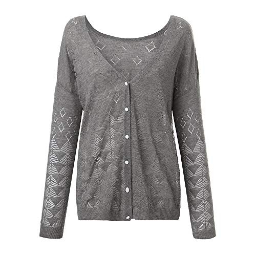 Kulywon sweatshirts for women Calsual Long Sleeve Hollow Out Button Reversible Cardigan Solid Blouse(S,Gray)