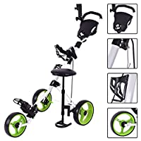 TANGKULA Golf Cart Swivel Foldable 3 Wheel Push Pull Cart Golf Trolley with Seat Scoreboard Bag Golf Push Cart