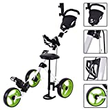 Tangkula Swivel 3 Wheel Push Pull Cart Golf Trolley with Seat Scoreboard Bag