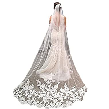 ZAHY Women's White & Ivroy 1T Lace Edge Cathedral Wedding Bridal Veil+Comb (Ivroy)